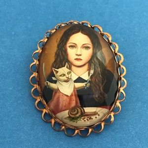 Girl and Cat Dinner Portrait Style Brooch Pin